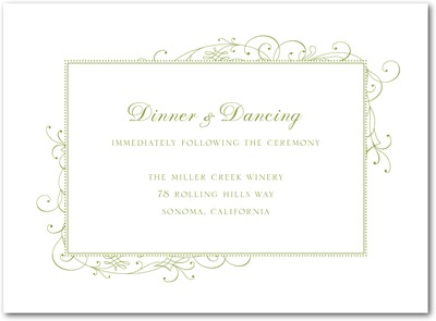 Stately Scroll Letterpress Wedding Reception Cards LP Celery