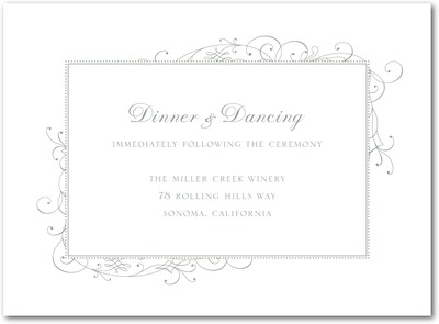Stately Scroll Letterpress Wedding Reception Cards LP Charcoal