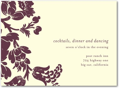 Hanging Floral Letterpress Wedding Reception Cards LP Burgundy