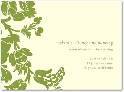 Hanging Floral Letterpress Wedding Reception Cards LP Celery