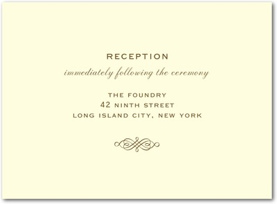 Simple Love Letterpress Wedding Reception Cards LP Brown