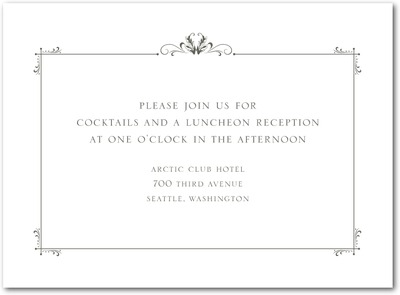 Understated Luxury Thermography Wedding Reception Cards TH Charcoal