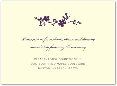 Wildflower Branch Thermography Wedding Reception Cards Plum