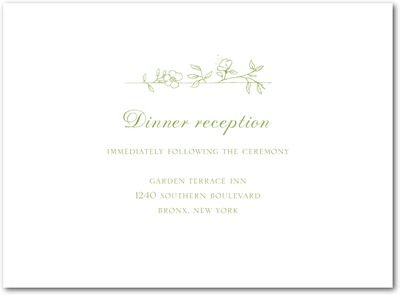 Garden Simplicity Thermography Wedding Reception Cards TH Celery