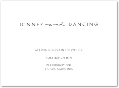 Handwritten Chic Thermography Wedding Reception Cards TH Charcoal