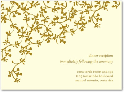 Tangled Trellis Thermography Wedding Reception Cards Gold