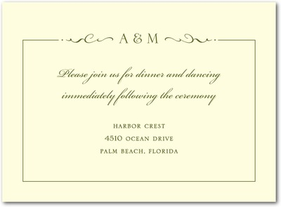 Winged Monogram Thermography Wedding Reception Cards Woodland Green