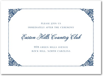 Coiled Corners Thermography Wedding Reception Cards TH Navy