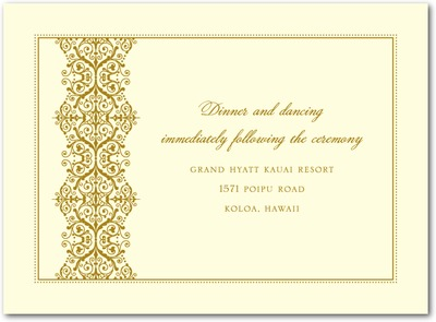 Royal Monogram Thermography Wedding Reception Cards TH Gold
