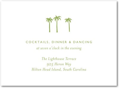 Seaside Palms Thermography Wedding Reception Cards Celery