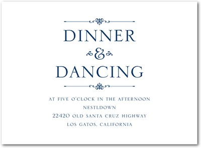 Dapper Duo Thermography Wedding Reception Cards TH Navy
