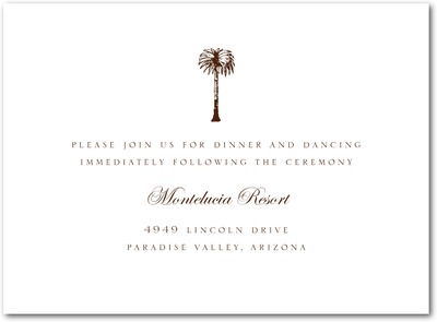 Posh Palm Thermography Wedding Reception Cards TH Brown