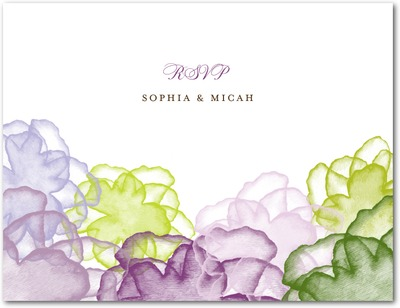 Floral Watercolor Wedding Response Postcards Eggplant