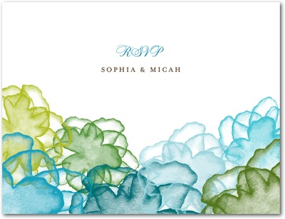 Floral Watercolor Wedding Response Postcards Luxe Turquoise