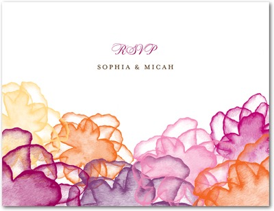 Floral Watercolor Wedding Response Postcards Raspberry