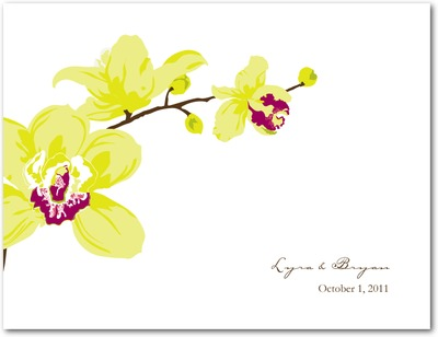 Artistic Orchids Wedding Response Postcards Margarita