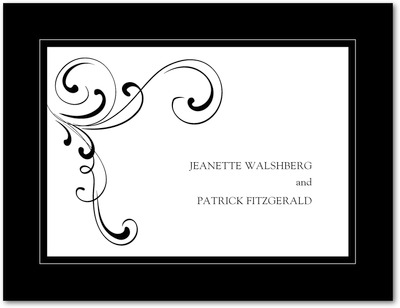 Simple Elegance Wedding Response Postcards Black