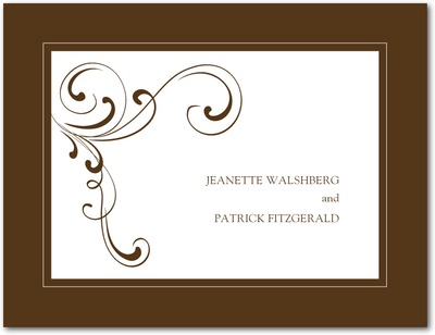 Simple Elegance Wedding Response Postcards Chocolate