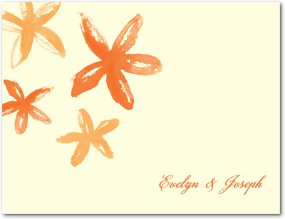 Beach Flowers Wedding Response Postcards Autumn Orange