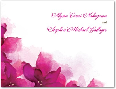 Vivid Blooms Wedding Response Postcards Fuchsia