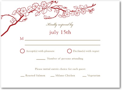 Cherry Blossoms Letterpress Wedding Response Cards Crimson