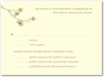 Modern Blossoms Letterpress Wedding Response Cards Antique Gold