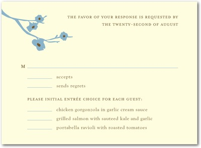 Modern Blossoms Letterpress Wedding Response Cards Lagoon