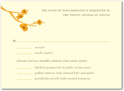 Modern Blossoms Letterpress Wedding Response Cards Orange