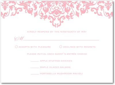 Vibrant Damask Letterpress Wedding Response Cards LP Petal Pink