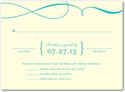 Single Swirl Letterpress Wedding Response Cards LP Turquoise