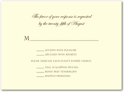 Sentimental Script Thermography Wedding Response Cards TH Brown