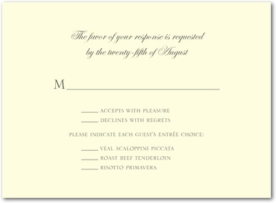 Sentimental Script Thermography Wedding Response Cards TH Charcoal