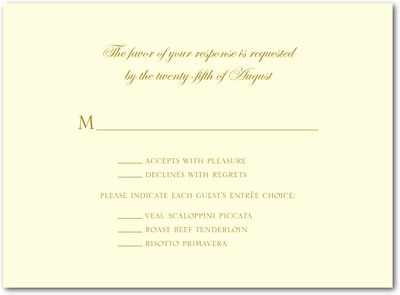 Sentimental Script Thermography Wedding Response Cards TH Gold
