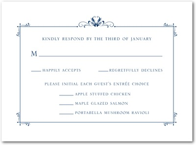 Understated Luxury Thermography Wedding Response Cards TH Navy