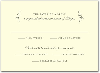 Precious Perimeter Thermography Wedding Response Cards TH Charcoal
