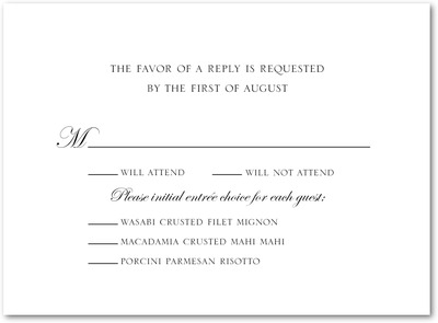 Lovely Simplicity Thermography Wedding Response Cards Black