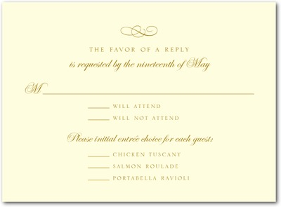 Calligraphy Swirl Thermography Wedding Response Cards Gold