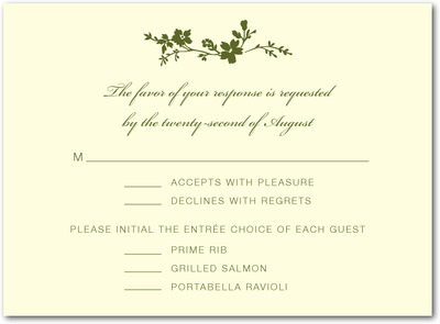 Wildflower Branch Thermography Wedding Response Cards Woodland Green