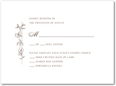 Garden Simplicity Thermography Wedding Response Cards TH Brown