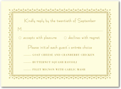 Heirloom Romance Thermography Wedding Response Cards TH Gold