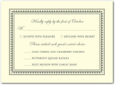 Medallion Border Thermography Wedding Response Cards TH Charcoal