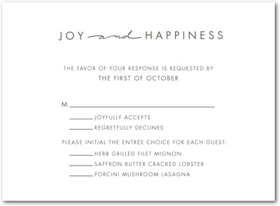 Handwritten Chic Thermography Wedding Response Cards TH Charcoal