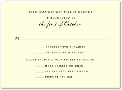 Ornate Initials Thermography Wedding Response Cards Black