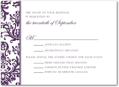 Diagonal Damask Thermography Wedding Response Cards TH Plum