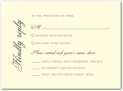 A New Direction Thermography Wedding Response Cards TH Charcoal
