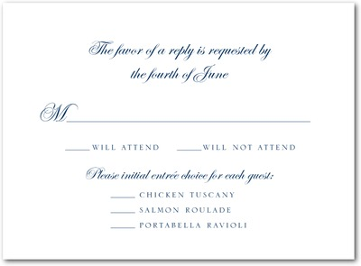 Framed Flourish Thermography Wedding Response Cards TH Navy