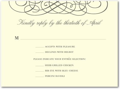 Dreamy Scrolls Thermography Wedding Response Cards TH Charcoal