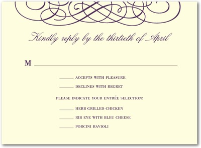 Dreamy Scrolls Thermography Wedding Response Cards TH Plum