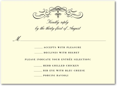 Monogram Motto Thermography Wedding Response Cards Black