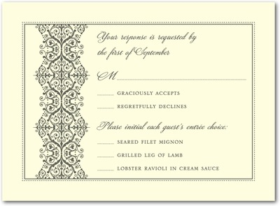 Royal Monogram Thermography Wedding Response Cards TH Charcoal